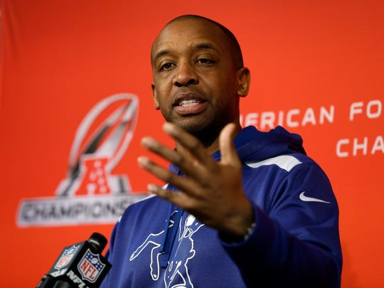 Pep Hamilton answers a question as Indianapolis Colts