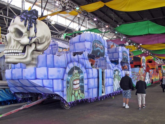 Parade floats are designed and constructed all year