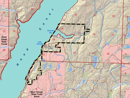 This map shows the boundaries of the proposed Dewatto Natural Resources Conservation Area. The area in pink is Department of Natural Resources Trust Land.