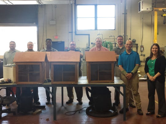 Greenheck employees built six little libraries for D.C. Everest schools.