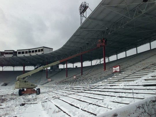 Prep work for the demolition of Silver Stadium is seen