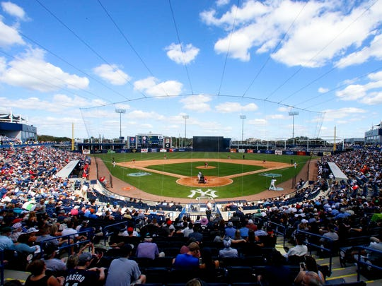 Fans watch a baseball game between the Yankees and the Philadelphia Phillies during spring training at George M. Steinbrenner Field on Friday, Feb. 24, 2017.
