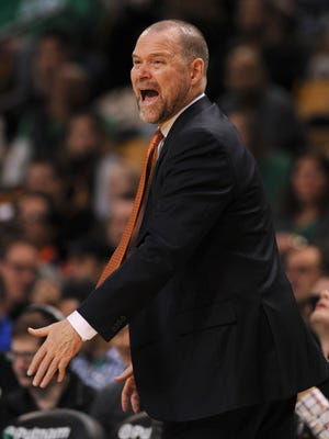 Denver Nuggets head coach Mike Malone reacts during the second half against the Boston Celtics at TD Garden.
