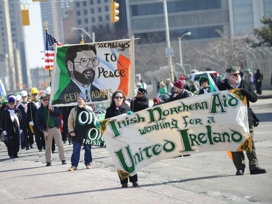 People march in the 57th annual Detroit St. Patrick's