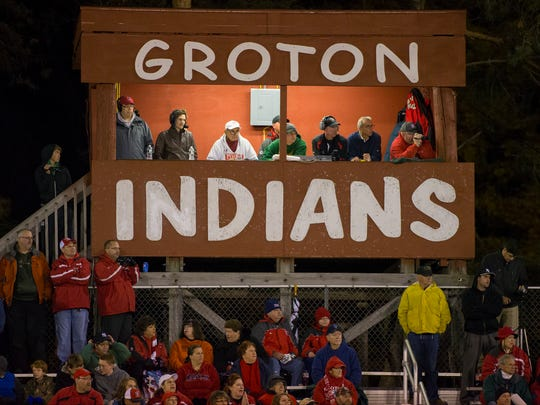 Groton football fans show their support.