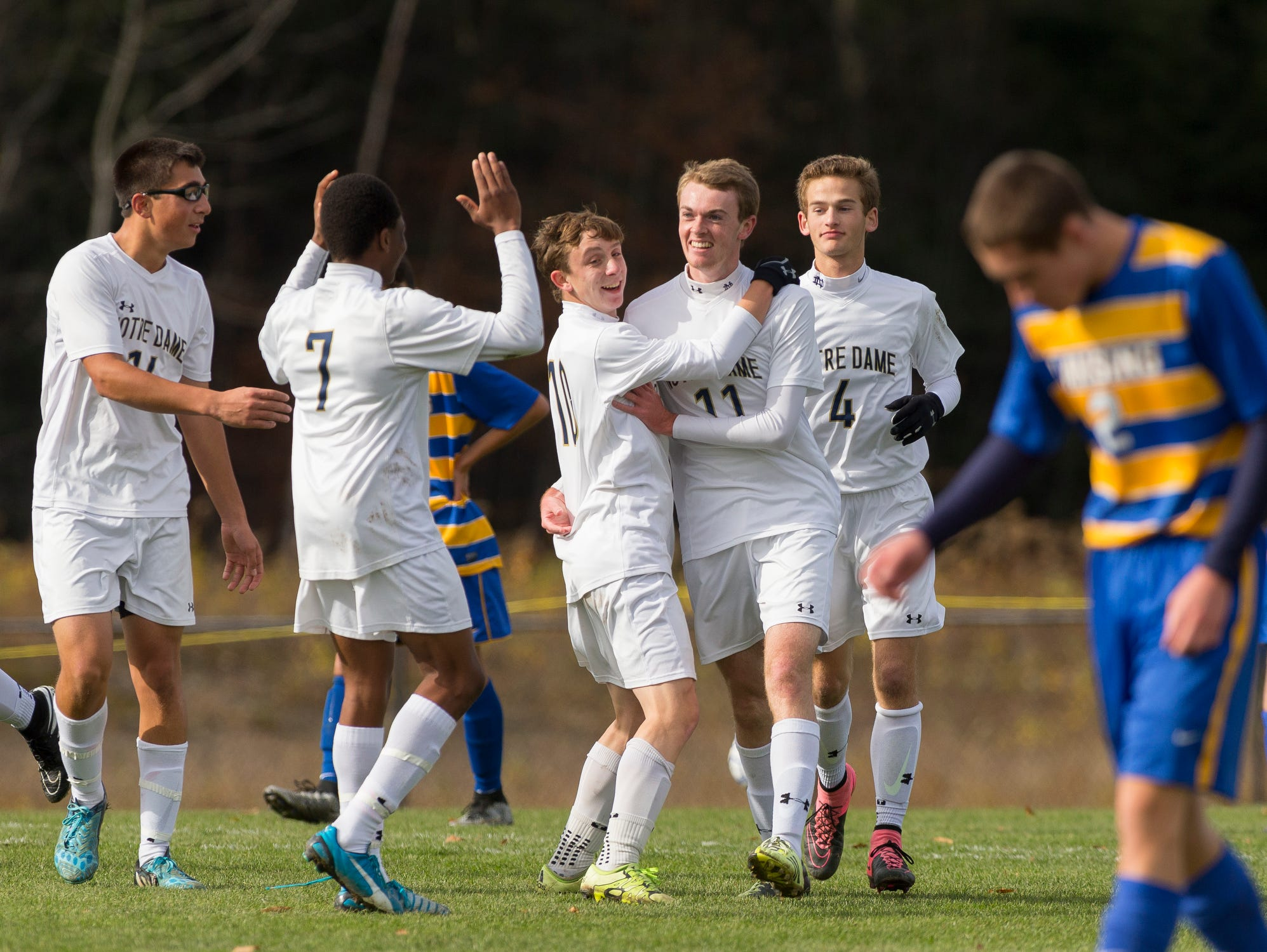 Notre Dame players celebrate their second goal on their way to winning the Section IV Class C soccer championship Saturday in Oneonta. From left, Connor Bayne, Aidan Sharma, Rocco Coulibaly, Michael Woglom, Ryan Lanning, Nick Steed, and Lansing's Ben Kutler.