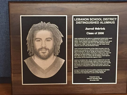Lebanon School District will present this plaque to Jared Odrick, Class of 2006, as a 2015 recipient of the Distinguished Alumni Award.