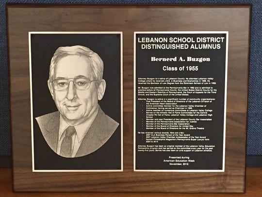 Lebanon School District will present this plaque to Bernerd Buzgon, Class of 1955, as a 2015 recipient of the Distinguished Alumni Award.