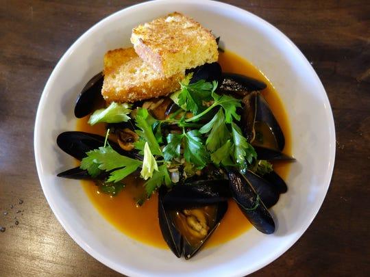 Potlikker mussels & cornbread at Okra in Phoenix.