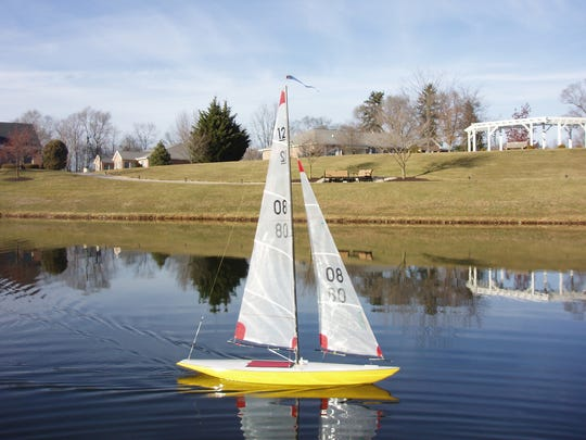 One of Mike Cavanaugh's models sailing on Friendship Lake.