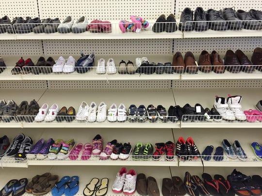 Shoes fill shelves in the new Salvation Army Thrift store in Madison.