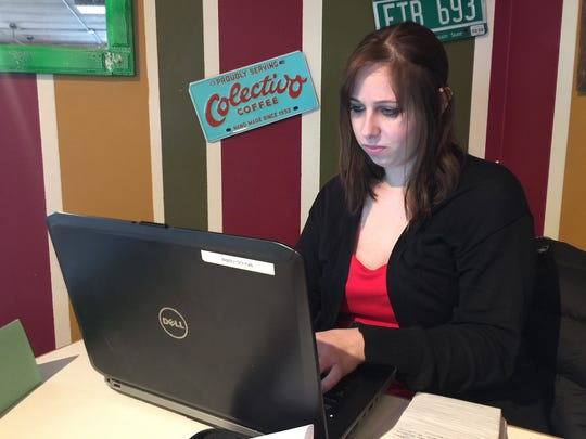 USA TODAY NETWORK - Wisconsin public issues investigator Sari Lesk sits at Zest Bakery and Coffeehouse in Stevens Point during her office hours, Wednesday, Jan. 13, 2015.