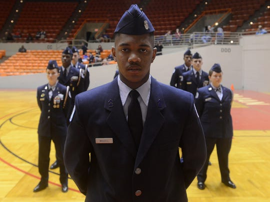 FILE: Cadet 2nd Lt. Tariq Waddell heads up the Liberty