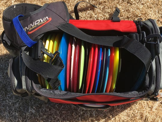Discs are stored in special backpacks to be carried