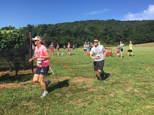 Runners make their way around the last stretch of the Hard Cider Run 5K at the Hauser Estate Winery.