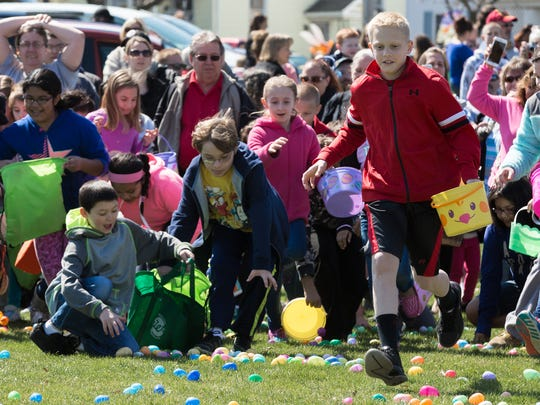 Kids hunt for eggs during the annual Hanover Community Easter Egg Hunt in 2016. The 2019 version will be held Saturday, April 20 at Moul Field.