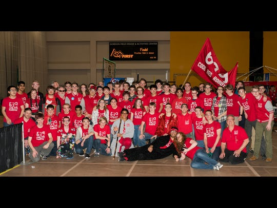 The Ithaca High School Code Red Robotics team poses