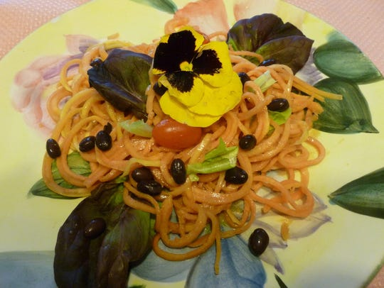 Papaya noodles with coconut curry sauce.