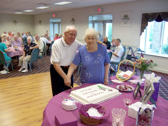 Robert and Kitty Boyer, of Myerstown, cut a cake on