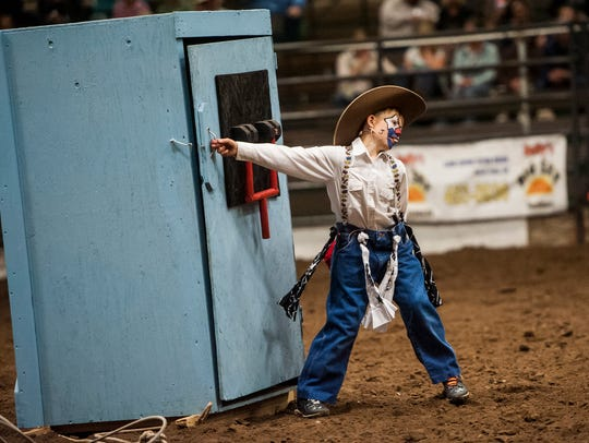 """""""Joker"""" Jett Lorang, 12-year-old grandson of Providence rodeo coach Dick Lyman, returns for another Big Sky Regional College Finals Rodeo Friday and Saturday night at Pacific Steel and Recycling Four Seasons Arena."""