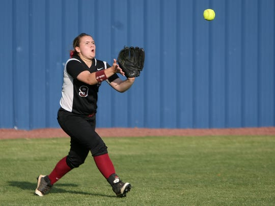 West Carroll's Ashley Barlow makes a catch against Huntingdon during the District 13-A tournament at Fillies Field in Huntingdon, Tenn., on Tuesday, May 10, 2016.