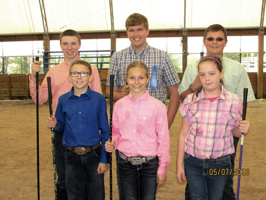 The following members were showmanship winners in their divisions: (left to right, front row): Lee Sweitzer (Wellsville), Raven Eisenhour (Wellsville), and Cayla Viguers (Etters). (left to right, back row): Daniel Rohrbaugh (Seven Valleys), Jacob Werner (Hanover), and Samuel Parr (East Berlin).