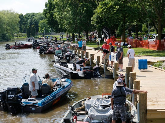 Participants hit the water Sunday in the 38th Mercury Marine National Walleye Tournament in 2016.