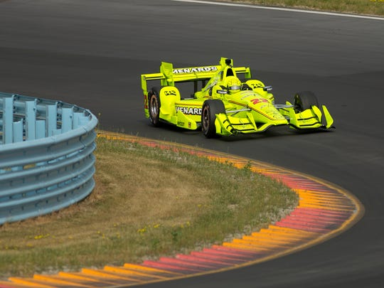 Simon Pagenaud enters the toe of The Boot during testing for IndyCars, Monday afternoon at Watkins Glen International.