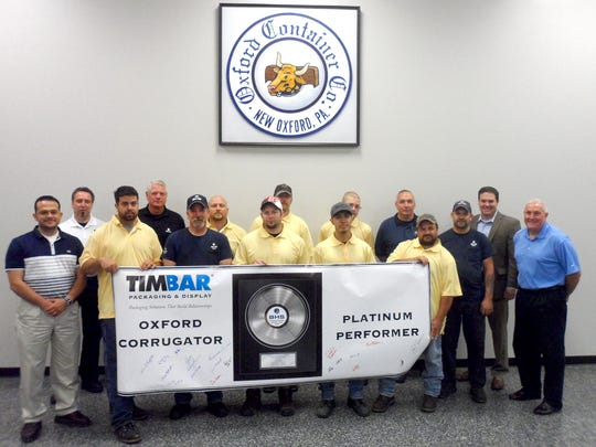 TimBar employees recognized recently for outstanding performance are, from left: Aiman Banawan, Plant Manager; Radboud Peters, BHS; Jeremy Sell; Pat Ciambruschini, BHS; Bill Kale, BHS; Charles Topper; Barrett Clabaugh; Pat Keckler; Mike Salazar; Zachary Feeser; Troy Howard; Henry Cool; Cain Rosenberry, BHS; Chris Weaver, BHS; and John Rice, General Manager.