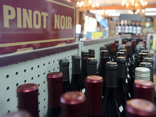 A selection of wine at Lynnwood Wine & Spirits sits on shelves Wednesday.