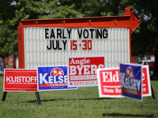 Campaign signs line North Parkway in front of the Madison County Agriculture Complex, where early voting is held.