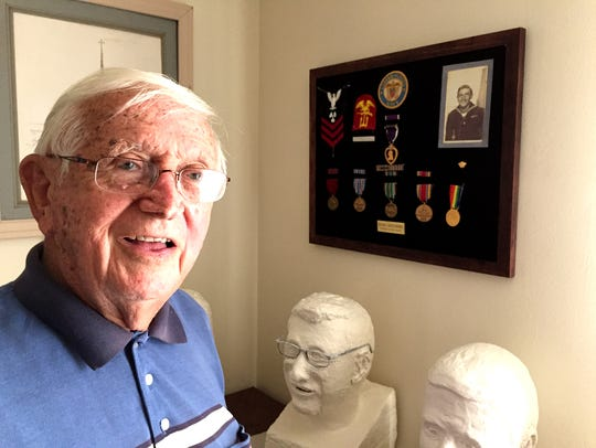 Richard Martin keeps his Purple Heart, along with his