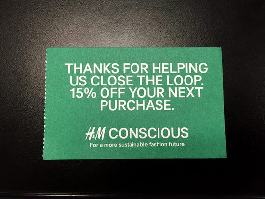 H&M gives out 15 percent off coupons in  exchange for