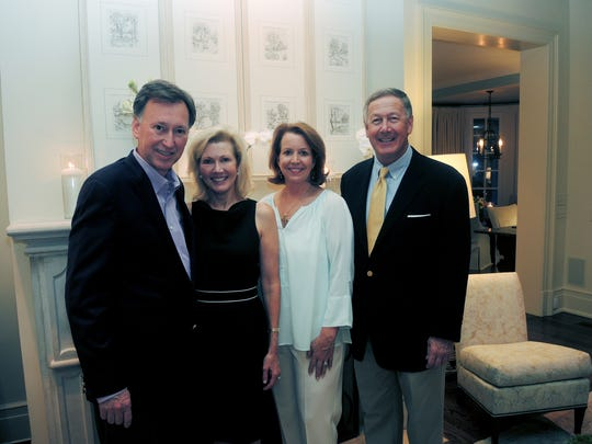 Swan Ball 2017 Auction Advisory co-chairs Doug and Sylvia Bradbury, left, and Elizabeth and David Dingess at the Swan Ball 2017 Auction Committee Kick Off, held at the home of Barbara and Greg Hagood.