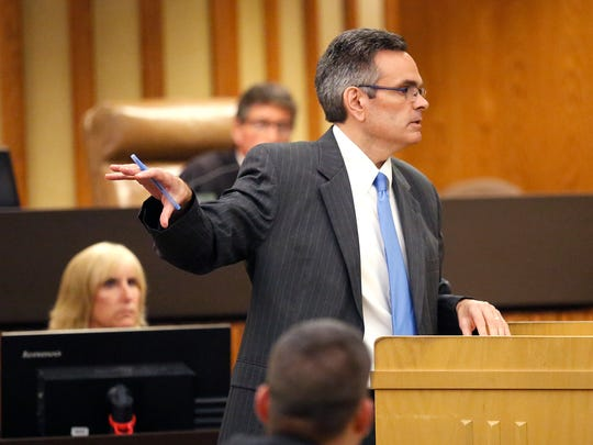 Daniel Griffin's defense attorney William Andrew Mayer gives opening statements to a jury on Sept. 19, 2016, during the murder trial of Griffin's then-girlfriend's 14-month-old son. District attorney Eric Toney and Douglas Edelstein are the prosecuting attorneys in the case.