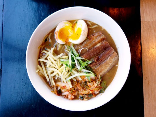 The pork ramen at The Clever Koi, a popular modern Asian restaurant with locations in central Phoenix and downtown Gilbert.