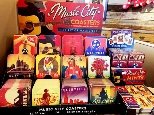 Music City Spirit of Nashville coasters, playing cards and mints.