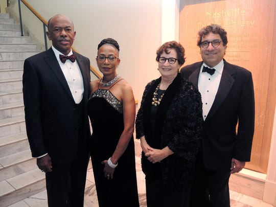 2016 Library Literary Award Gala President James E. K. and Phyllis D. K. Hildreth, J.D., left and Lydia A. Howarth and Chancellor Nicholas Zeppos, at the Nashville Public Library Foundation 2016 Literary Award Gala held at the Nashville Public Library in downtown Nashville.