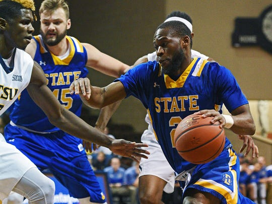 SDSU's Tevin King (2) controls the ball during a Sanford