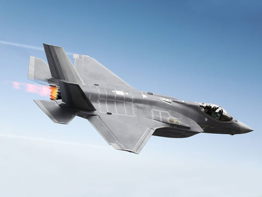 F35 Fighter jet at supersonic speeds