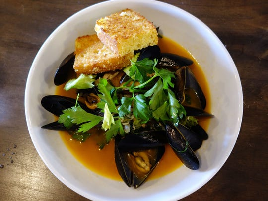 Potlikker mussels and cornbread at Okra in Phoenix.
