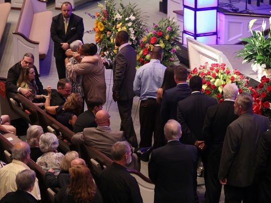 People line up to pay their respects during Rayford Collins funeral at Englewood Baptist Church on Saturday, June 18, 2016.