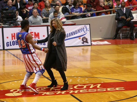 Anthony 'Ant' Atkinson dances with Alicia Owens at Oman Arena at in Jackson, Tenn., on Sunday, Jan. 8, 2017.