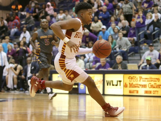 Humboldt's Jarred Walker (5) drives toward the basket during the District 14-A championship game against Union City at the University of Tennessee at Martin's Elam Center in Martin, Tenn., on Saturday, Feb. 18, 2017.