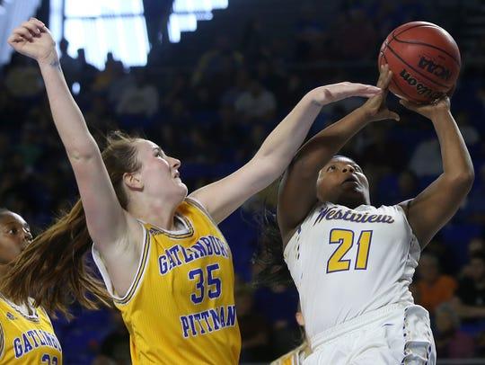 Gatlinburg-Pittman's Megan Miller (35) fouls Westview's