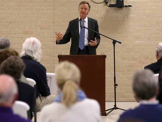Gov. Bill Haslam speaks at the Hawkins-Whitby FEMA Community Safe Room in Milan, Tenn., on Thursday.