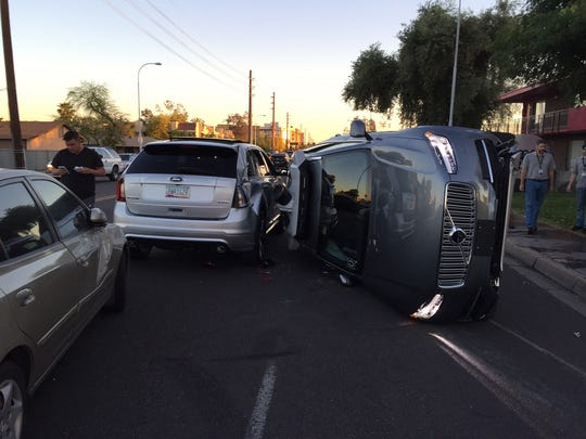 The scene from an accident involving a self-driving