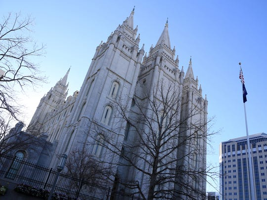 Spring at Temple Square in Salt Lake City during the 187th Annual General Conference of The Church of Jesus Christ of Latter-day Saints.