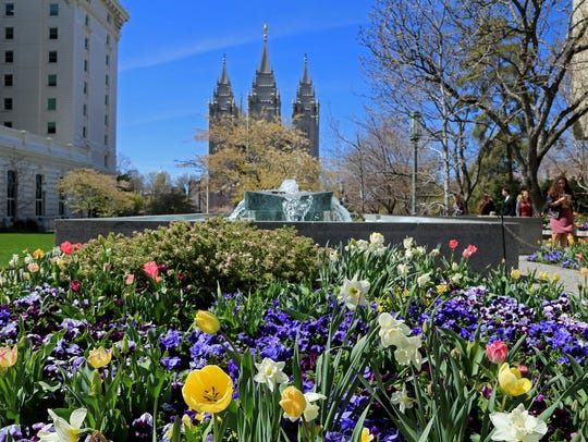 Spring at Temple Square in Salt Lake City during the