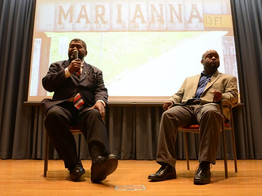 """James E. """"Super Wolfe"""" Wolfe Jr., left, and Greg Hammond, producer of """"Made in Marianna: The Legend of Super Wolfe,"""" answer questions after a screen of the film in Ayers Auditorium on the campus of Jackson State Community College in Jackson, Tenn., on Thursday, April 6, 2017."""
